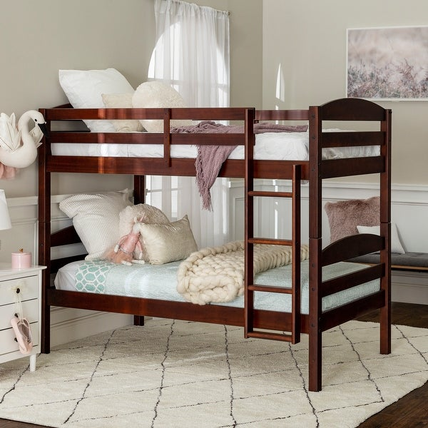 Taylor & Olive Christian Wood Twin Over Twin Bunk Bed - Espresso. Opens flyout.