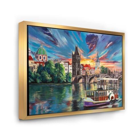 Designart 'Cityview of Prague By Sunset' Children's Art Framed Canvas Wall Art Print