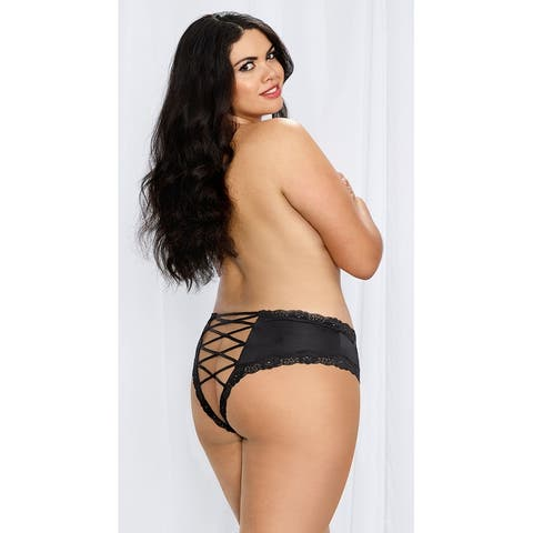 Plus Size Lace-up Hipster Panty, Plus Size Lace Hipster Panty