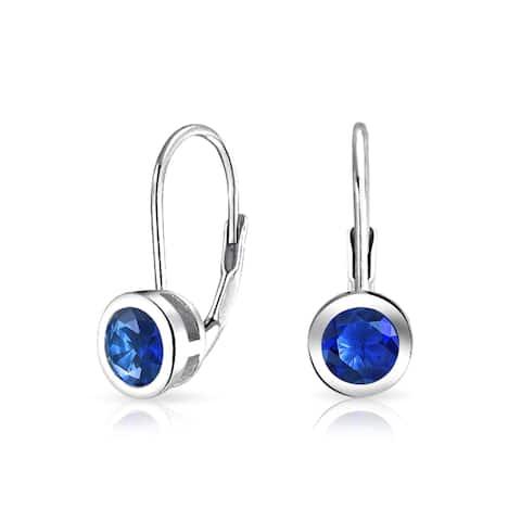 Minimalist .50 CT Blue Solitaire Bezel Brilliant Cut CZ Leverback Drop Earrings Imitation Sapphire 925 Sterling Silver