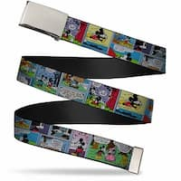 Blank Chrome  Buckle Mickey & Minnie Comic Strip Webbing Web Belt