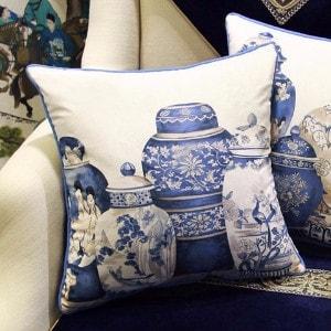 """Luxury Blue Four Vase Printing Pillow 18""""X18"""""""