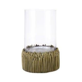 IMAX Home 26372  Helios Ceramic Pillar Hurricane Candle Holder - Green