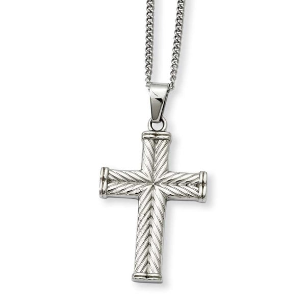 Stainless Steel Fancy Textured Cross Pendant 22in Necklace (2 mm) - 22 in