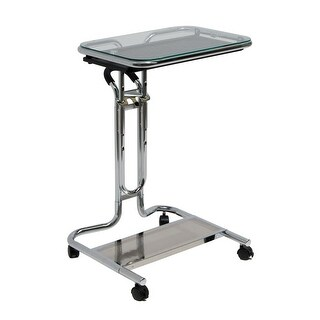 Offex Laptop Cart with Mouse Pad - Chrome/Clear Glass