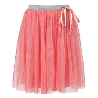 Richie House Girls' Blue Skirt with Silver Tulle and Matching Ribbon