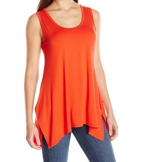 Karen Kane NEW Orange Women's Size XS Hankerchief-Hem Knit Tank Top