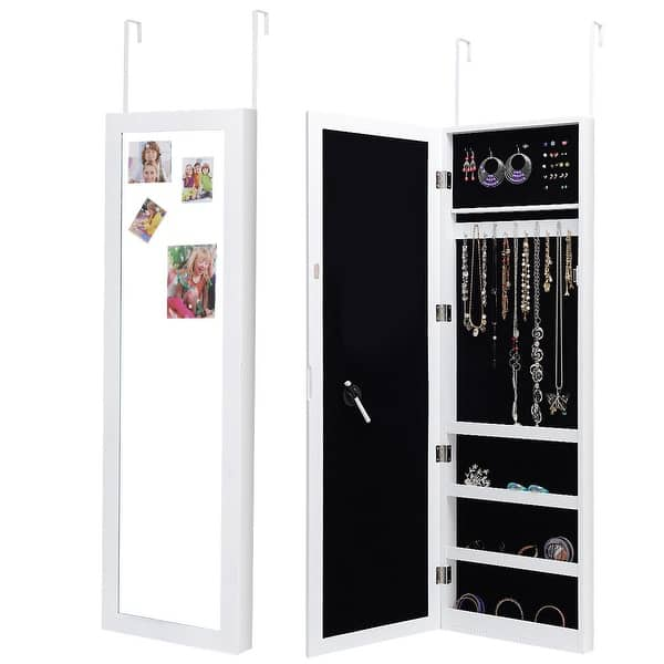 Costway Wall Door Mounted Magnetic Mirrored Jewelry