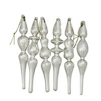 "6-Piece Asymmetrical Silver Glass Finial Christmas Ornament Set 3.25"" (80mm)"