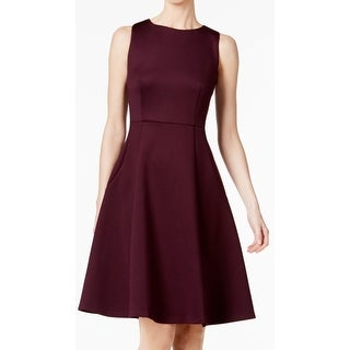 Calvin Klein Womens Fit & Flare Scuba A-Line Dress