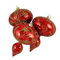 Red and Gold Beaded Floral Shatterproof Christmas Finial Ornaments