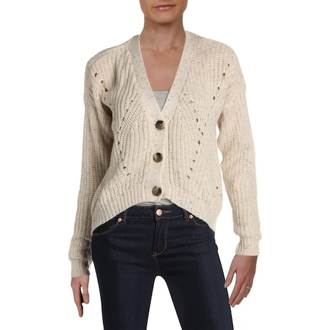 Ultra Flirt Womens Cardigan Sweater Cropped Knit - S