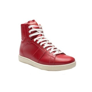 Saint Laurent Men's Leather High Top Sneaker Shoes Red