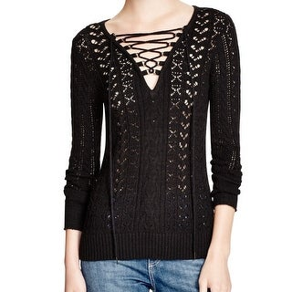 Free People NEW Black Women's Size XS Lace Up V-Neck Knit Sweater