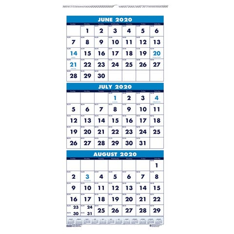 """Vertical Academic 3-Month Wall Calendar, June-July, 8"""" x 17"""" - One Size"""