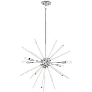 "Kovacs P1792-077 Spiked 6 Light 25"" Wide Sputnik Chandelier with Clear Glass Bar"