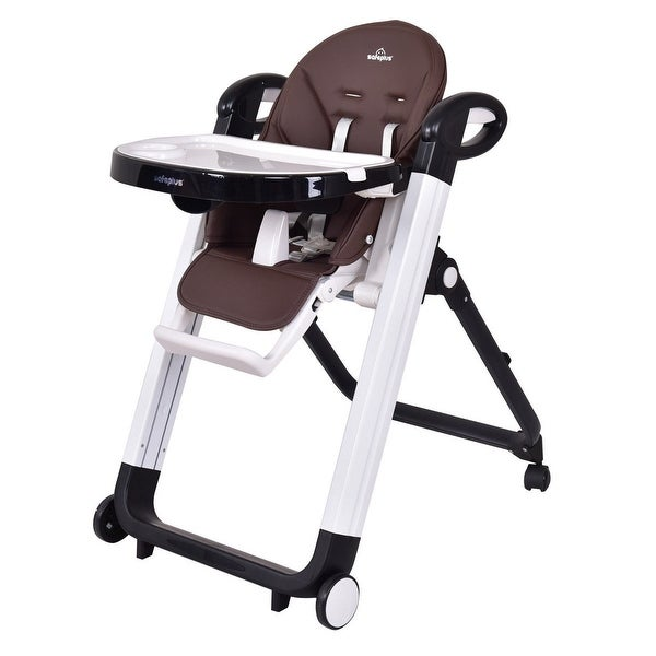 Portable Baby High Chair Infant Toddler Feeding Booster Safe Folding Highchair - COFFEE