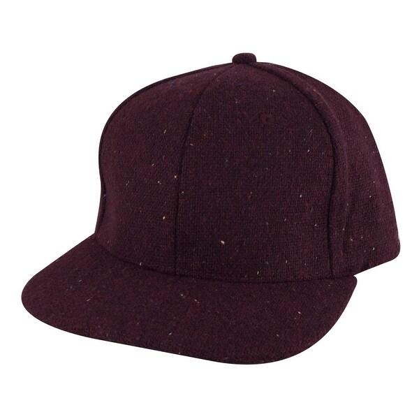 Flat Brim Wool Confetti Sparkle Adjustable Snapback Hat Cap by CapRobot Maroon