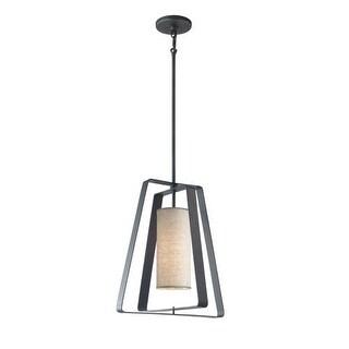 Woodbridge Lighting 13123TBK-S10401 1 Light Foyer Pendant with Beige Shade from