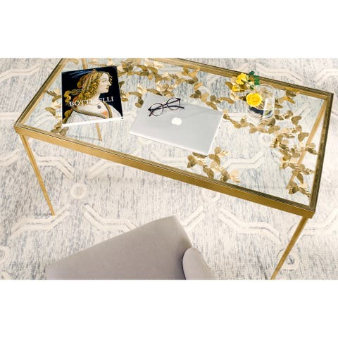 SAFAVIEH Rosalia Antique Gold Leaf Butterfly Desk