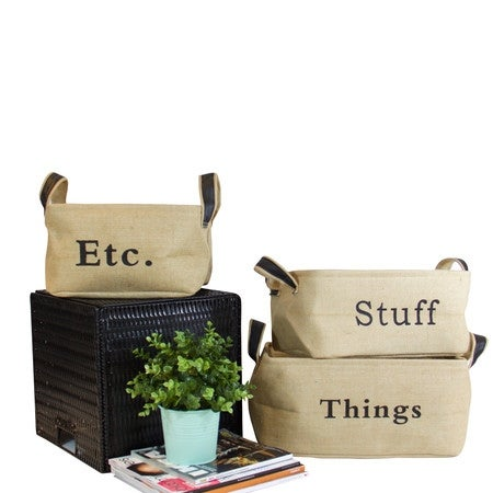 G Home Collection Linen Storage Box with Handles (Set of 3)