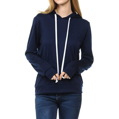 SSOULM Women's Casual Long Sleeve Pullover Hoodie with Kangaroo Pockets Navy M - No Size