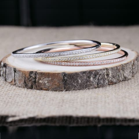 Auriya 1 carat TW Diamond Encrusted Bangle Bracelet 10K Gold