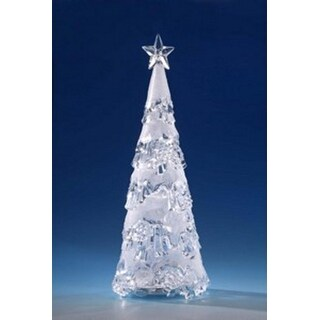 """Pack of 2 Icy Crystal Illuminated Frosted Glitter Christmas Tree Figures 15.5"""""""