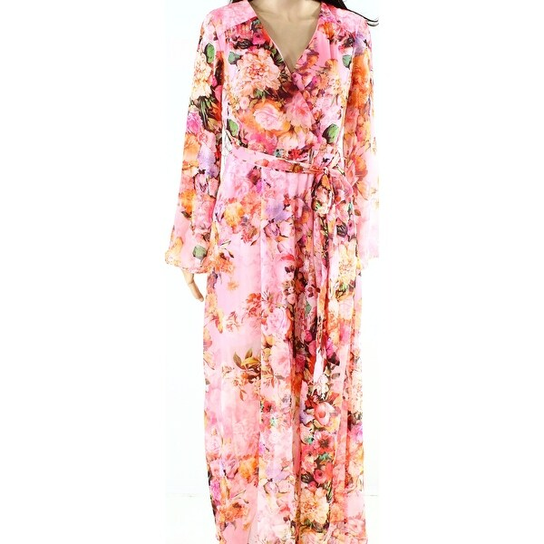 a299cde765 Shop ECI NEW Pink Womens Size 6 Floral Print V-Neck Chiffon Maxi Dress -  Free Shipping Today - Overstock - 18529311