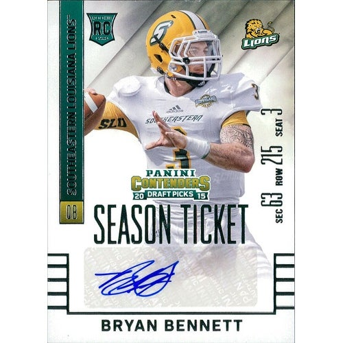 uk availability 6312d 61939 Signed Bennett Bryan Southeastern Louisiana Lions 2015 Panini Contenders  Football Card autographed