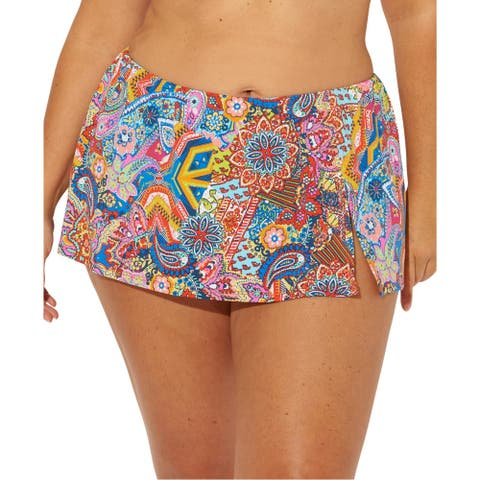 Bleu Rod Beattie Womens Printed Hispter Swim Skirt - Multi