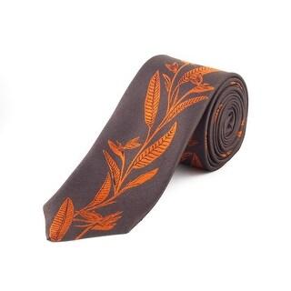 Z Zegna Men's Slim Silk Patterened Tie Brown - no size