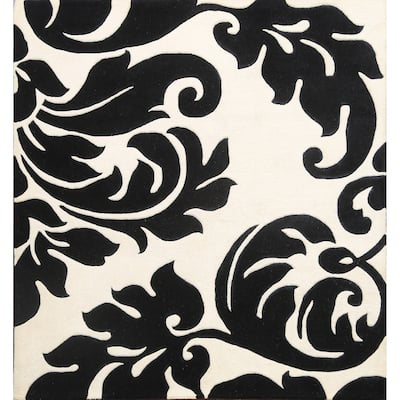 """Abstract Transitional Oriental Area Rug Wool Hand Tufted Carpet - 6'0"""" x 6'0"""" Square"""