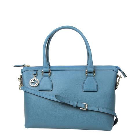 df93b915da6426 Gucci GG Charm Teal Blue Leather Medium Convertible Straight Bag With Strap  449659 4618