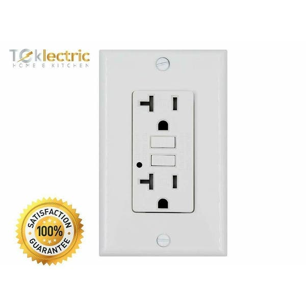 Shop White Gfci 20a 125v Tamper Resistant Outlet 20 Amp Grounded Electrical Receptacle Wall Plate Screws Included 10 Pack Overstock 28360082