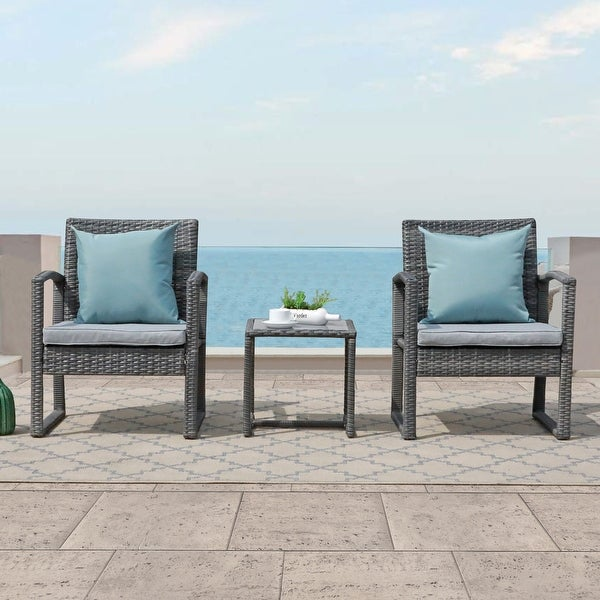 3-piece Outdoor Wicker Chat Set with Cushions. Opens flyout.