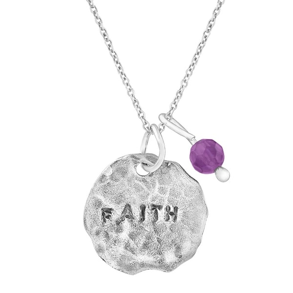 'Faith' Charm Pendant with Natural Amethyst in Sterling Silver