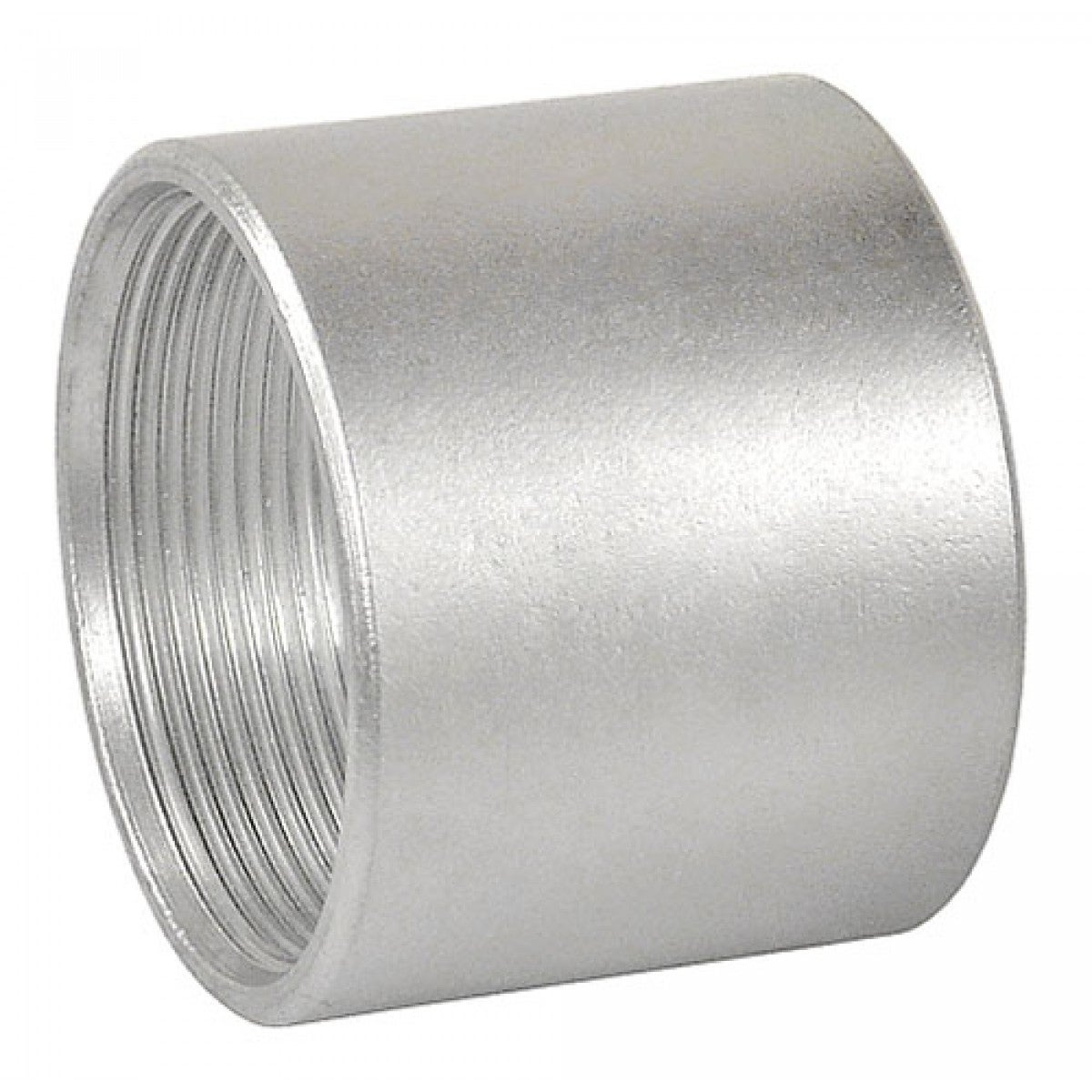 2 Pcs, 3-1/2 in. Galvanized Rigid Threaded Coupling, Zinc Plated Steel