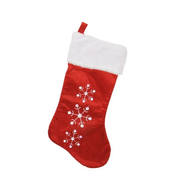 "19"" Red and White Snowflake Embroidered Christmas Stocking. Opens flyout."