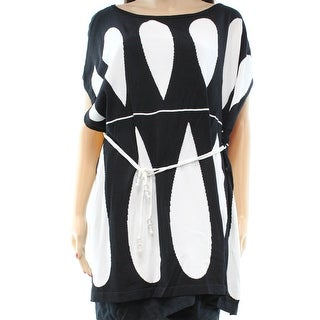 Vertigo NEW Black White Print Women's Size Small S Belted Tunic Sweater