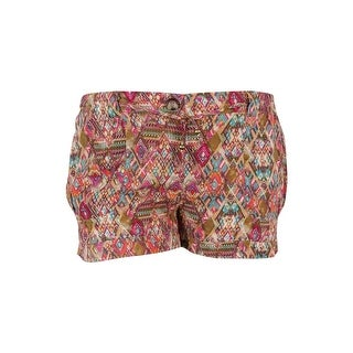 American Rag Women's Printed Drawstring Shorts - coral almond - XL
