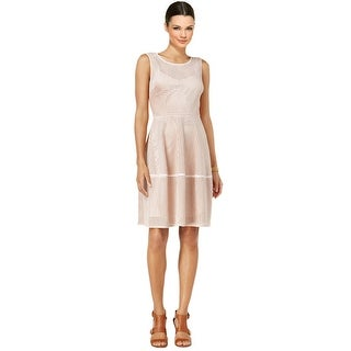 Tommy Hilfiger Perforated Faux Suede Fit & Flare Dress Powder Pink