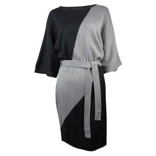 Sangria Women's Belted Color Block Dolman Dress