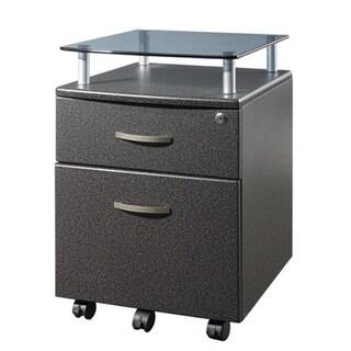 Techni Mobili RTA-S06-GPH06 Rolling Glass Top File Cabinet - Graphite
