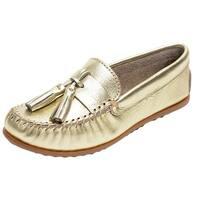 Minnetonka Shoes Womens Grace Moc Slip On Leather Tassels Gold