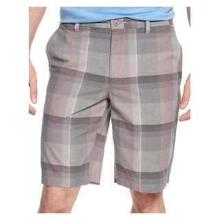 Alfani Big and Tall Black Label Shorts 42W Gray and Lavender Plaid Regular Fit - 42
