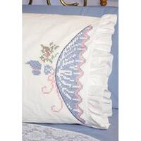 "Cross Stitch Lady - Stamped Ruffled Edge Pillowcases 30""X20"" 2/Pkg"