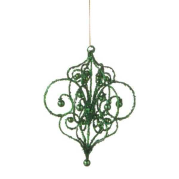 """Sugared Fruit Green Bead and Glitter Filigree Christmas Ornament 7.25"""""""