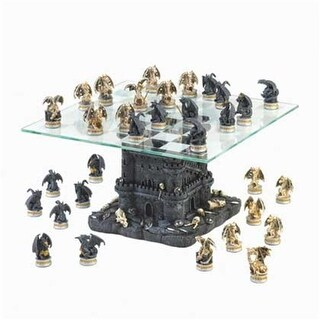 Home Locomotion 10015192 Black Tower Dragon Chess Set