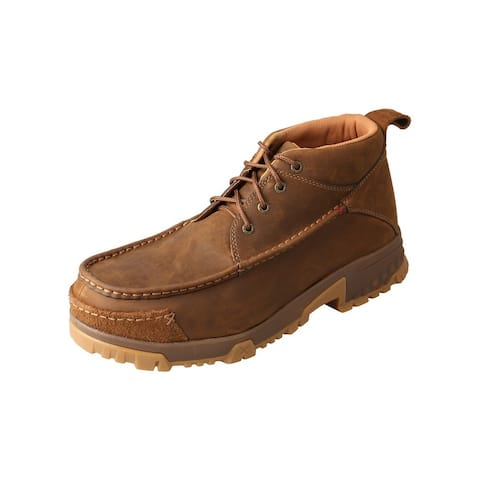 Twisted X Work Shoes Mens Lace Up Leather Hiker Rubber Brown